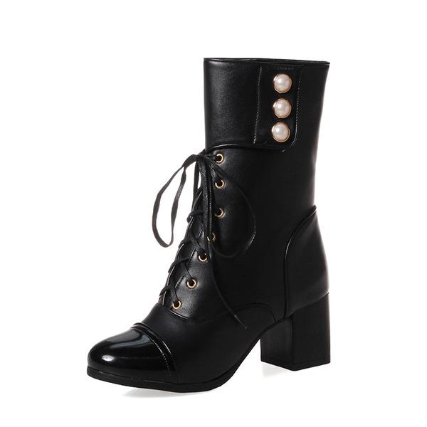 Kvinner Semsket PU Stor Hæl Pumps Støvler Mid Leggen Støvler med Imitert Perle Blondér sko