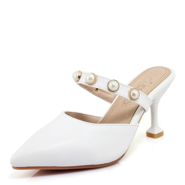 Women's Suede PU Stiletto Heel Sandals Pumps With Imitation Pearl shoes