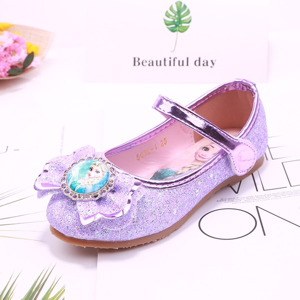 Girl's Round Toe Closed Toe Sparkling Glitter Flat Heel Flats Flower Girl Shoes