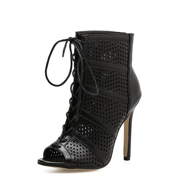 Donna PU Tacco a spillo Stiletto Stivali Punta aperta Stivali alla caviglia con Allacciato Cava-out scarpe
