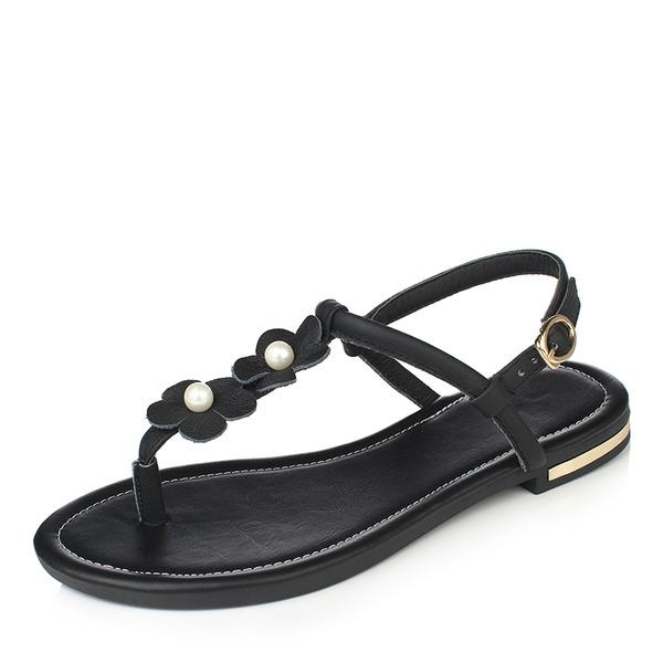 Mulheres PU Sem salto Sandálias Sem salto com Pérola Imitação Fivela sapatos