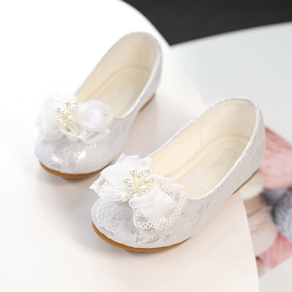 Girl's Round Toe Closed Toe Lace Flats With Bowknot