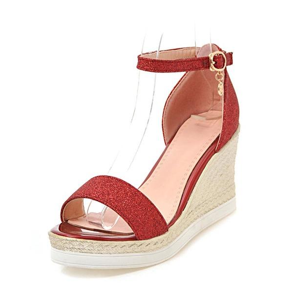 Kvinder Mousserende Glitter Kile Hæl sandaler Kiler Kigge Tå med Spænde sko
