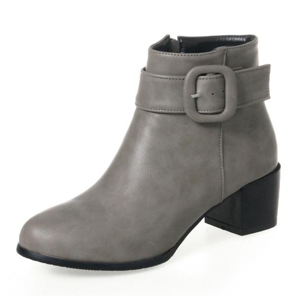 Kvinner PU Stor Hæl Pumps Støvler Ankelstøvler med Spenne Glidelås sko