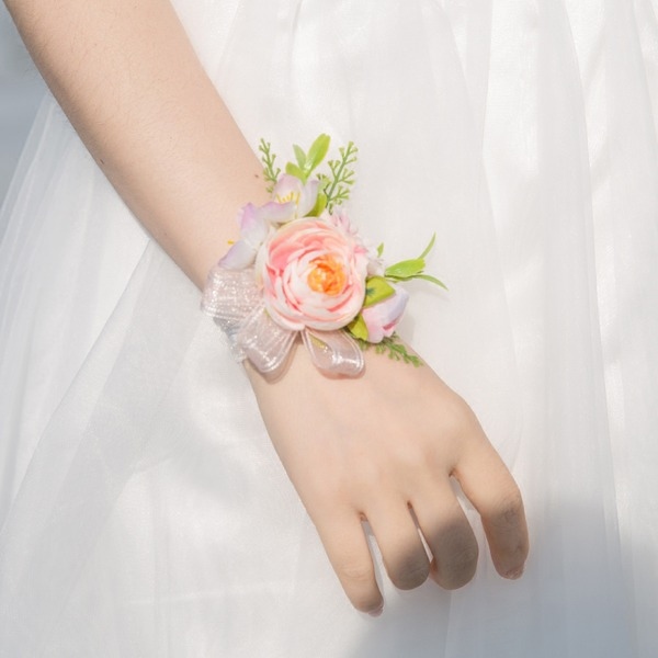 Lovely Free-Form Satin Wrist Corsage (Sold in a single piece) -