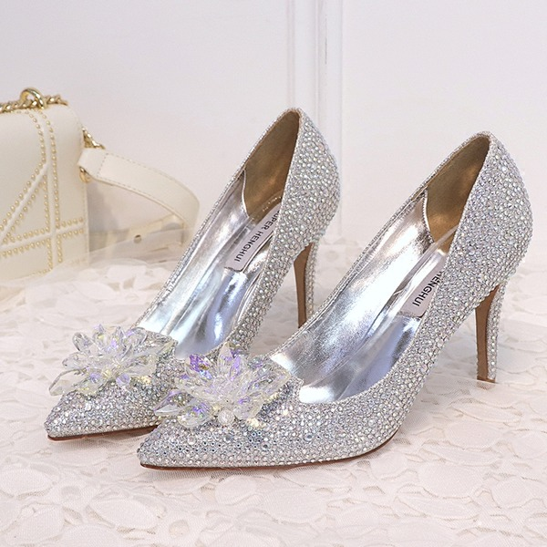 Women's Leatherette Stiletto Heel Closed Toe Pumps With Crystal