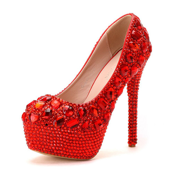 Vrouwen Kunstleer Stiletto Heel Closed Toe Pumps met Strass