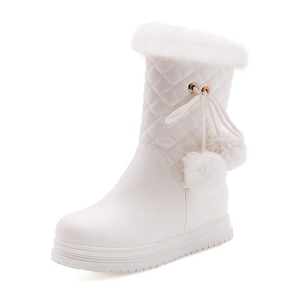 Kadın Suni deri Düz Topuk Kapalı Toe Bot Mid-Buzağı Boots Kar Boots Ile Kürk ayakkabı