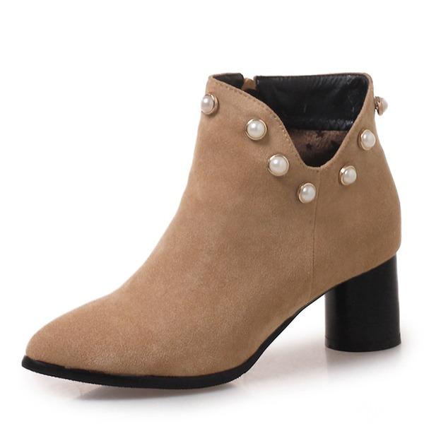 Frauen Veloursleder Stämmiger Absatz Stiefel Stiefelette mit Niete Schuhe