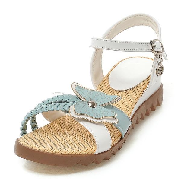 Vrouwen Kunstleer Wedge Heel Sandalen Peep Toe met strik Gesp schoenen