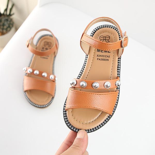 Fille de À bout ouvert similicuir talon plat Sandales avec Boucle Strass Velcro Rivet