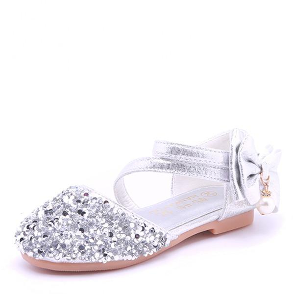 Fille de bout rond Bout fermé Cuir en microfibre talon plat Sandales Chaussures de fille de fleur avec Bowknot