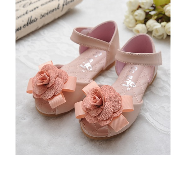 Girl's Peep Toe Leatherette Flat Heel Sandals Flats Flower Girl Shoes With Bowknot Satin Flower Velcro