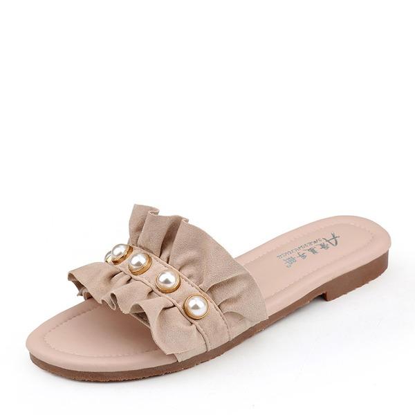 Frauen Veloursleder Flascher Absatz Sandalen Flache Schuhe Peep Toe mit Nachahmungen von Perlen Schuhe