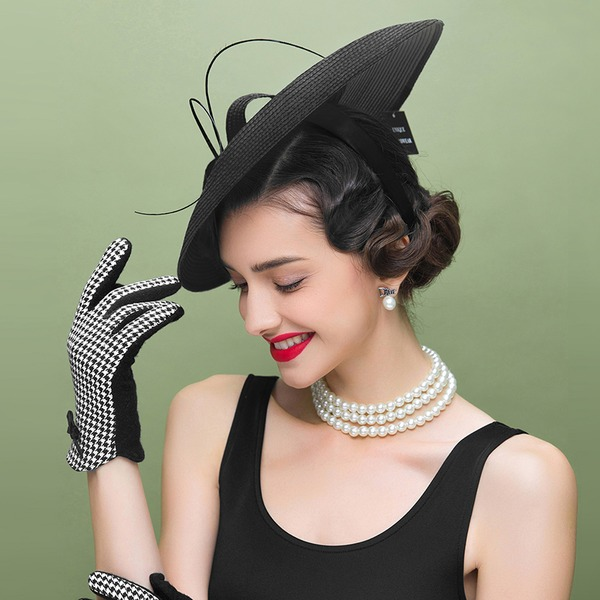 Ladies' Beautiful/Elegant Polyester With Feather Floppy Hats