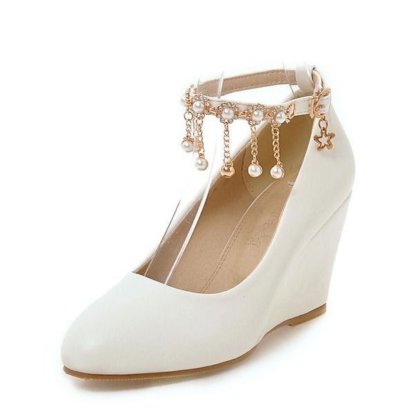 Women's PU Wedge Heel Pumps Closed Toe Wedges With Chain shoes