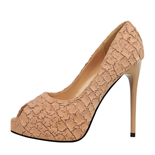Women's Suede Stiletto Heel Pumps Peep Toe With Others shoes