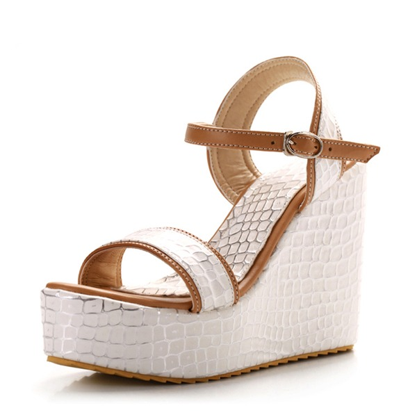 Women's PVC Wedge Heel Sandals Pumps Wedges Peep Toe Slingbacks With Buckle shoes