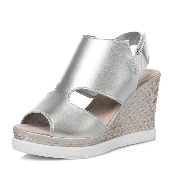 Mulheres PU Plataforma Sandálias Calços Peep toe Sapatos abertos com Velcro sapatos