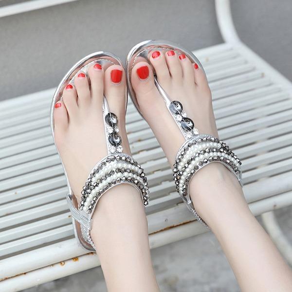 Femmes Cuir verni Talon plat Sandales avec Strass Perle d'imitation chaussures