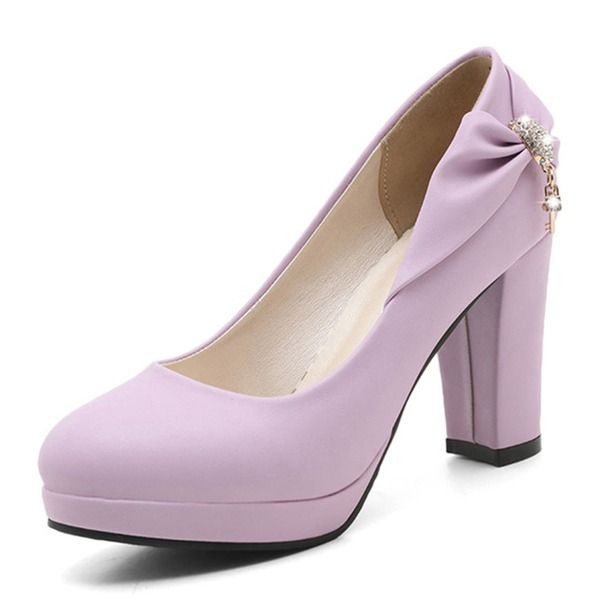 Women's PVC Chunky Heel Pumps Platform With Bowknot shoes