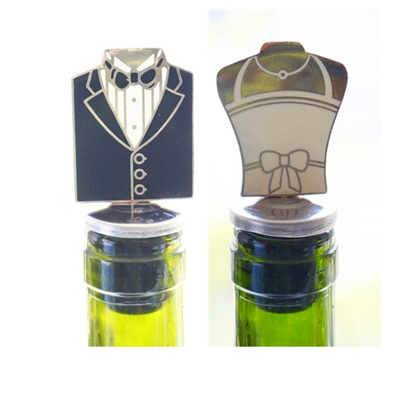 Groom and Bride Bottle Stopper Party Decoration (Sold in a single piece)