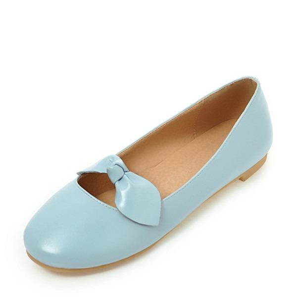 Women's PVC Flat Heel Flats Closed Toe With Bowknot shoes