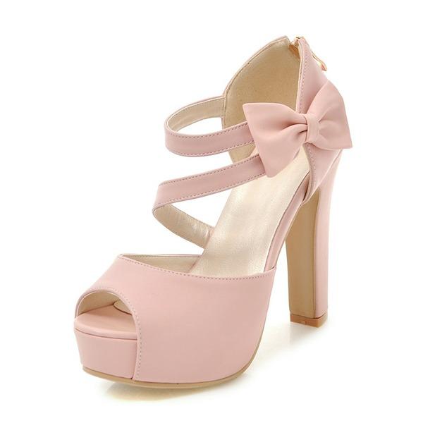 Kadın PU Kalın Topuk Sandalet Pompalar Platform Peep Toe Ile İlmek ayakkabı