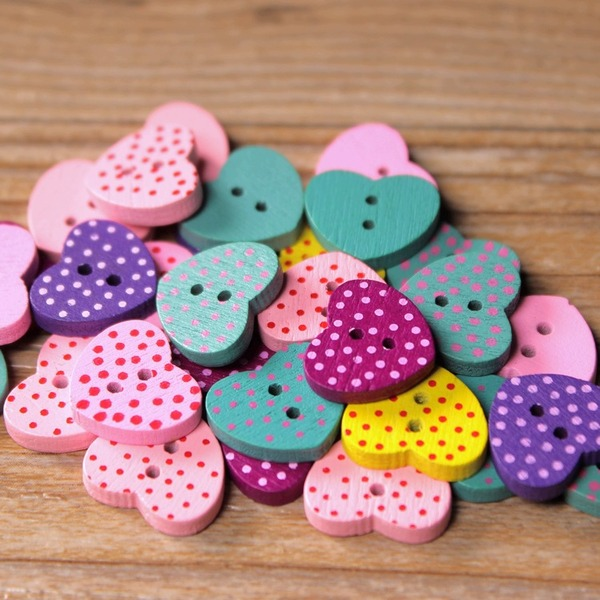 Lovely/Colorful Wooden Buttons (set of 100)