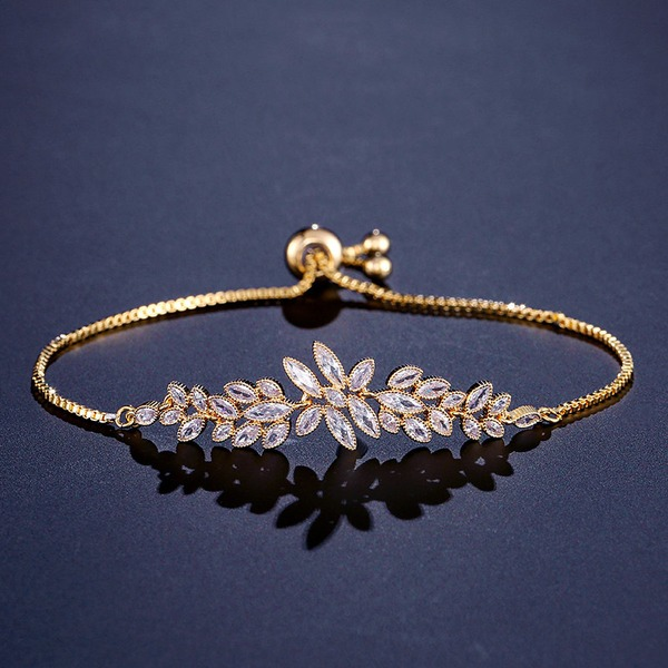 Leaves Shaped Zircon Copper With Zircon Fashion Bracelets (Sold in a single piece)