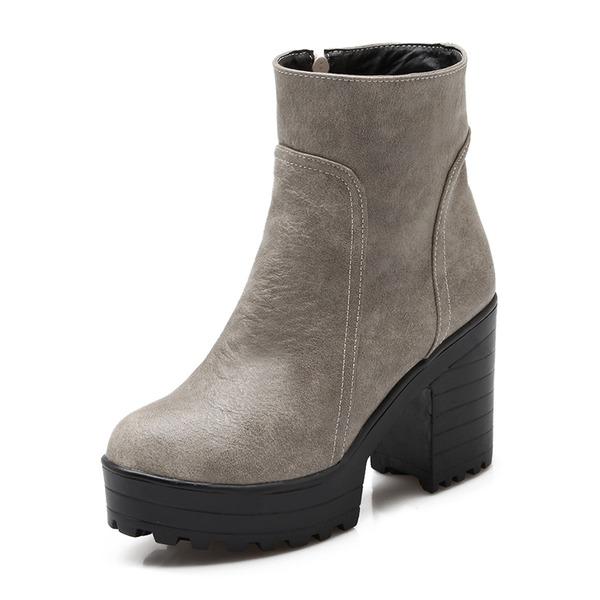 Frauen Kunstleder Stämmiger Absatz Absatzschuhe Plateauschuh Geschlossene Zehe Stiefel Stiefelette Stiefel-Wadenlang mit Reißverschluss Schuhe