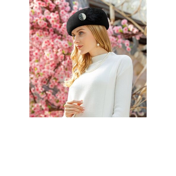 Ladies' Special/Classic Wool With Feather Beret Hats