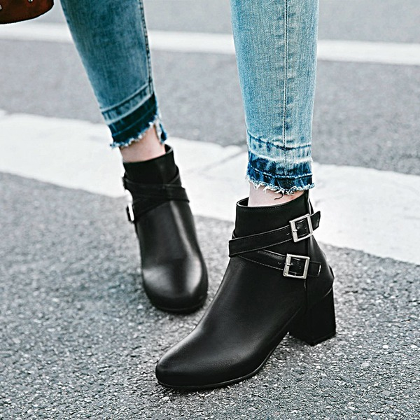 Women's PU Chunky Heel Pumps Boots With Buckle shoes
