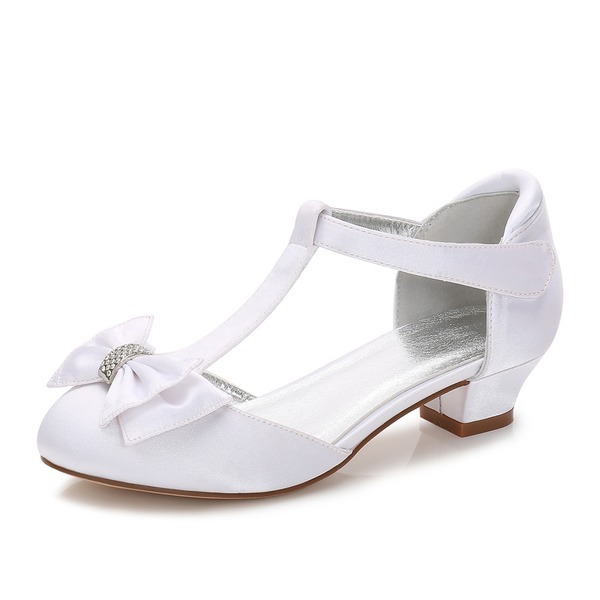 Jentas Round Toe Lukket Tå Mary Jane Silk Som Satin lav Heel Flower Girl Shoes med Bowknot Rhinestone