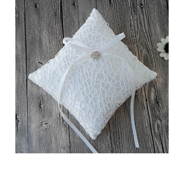 Square Ring Pillow in Satin/Lace With Ribbons/Rhinestones/Lace