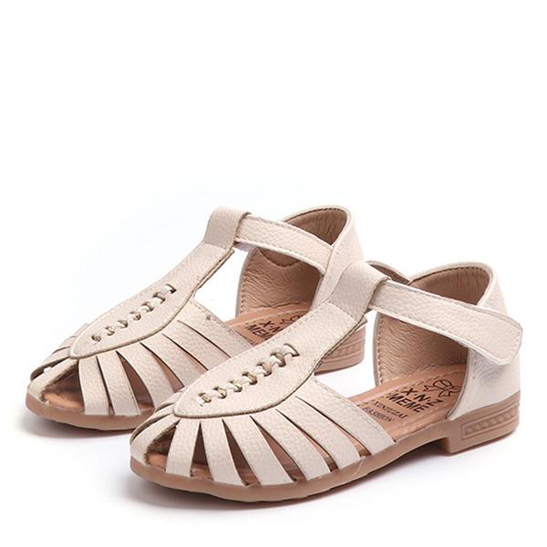 Mädchens Peep Toe Leder Flache Ferse Sandalen Flache Schuhe mit Klettverschluss Hohl-out