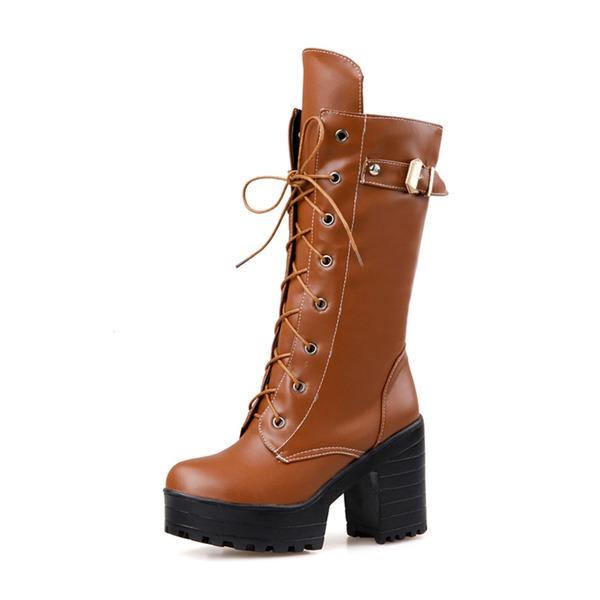 Naisten Keinonahasta Chunky heel Avokkaat Suljettu toe Kengät Mid-calf saappaat jossa Nauhakenkä kengät