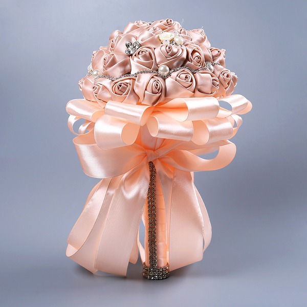 Hand-tied Rhinestone/Imitation Pearl Bridal Bouquets/Bridesmaid Bouquets (Sold in a single piece) -