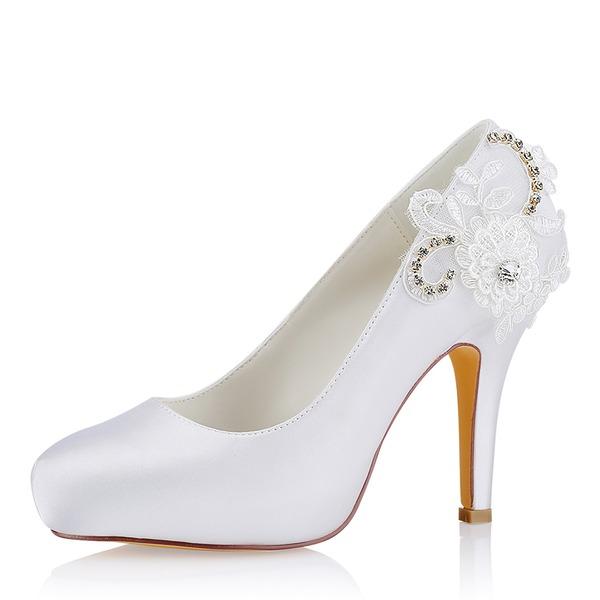 Kvinder silke lignende satin Stiletto Hæl Lukket Tå Pumps sandaler med Syning Blonde