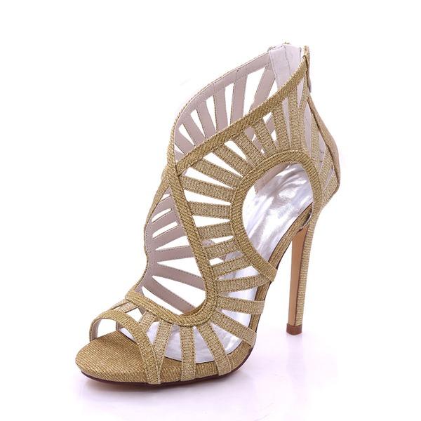 Women's Sparkling Glitter Stiletto Heel Platform Pumps Sandals With Zipper