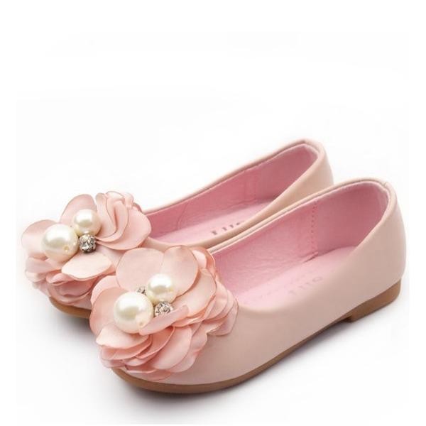 Round Toe Lukket Tå Leather flat Heel Flate sko Flower Girl Shoes med Blomst Perle