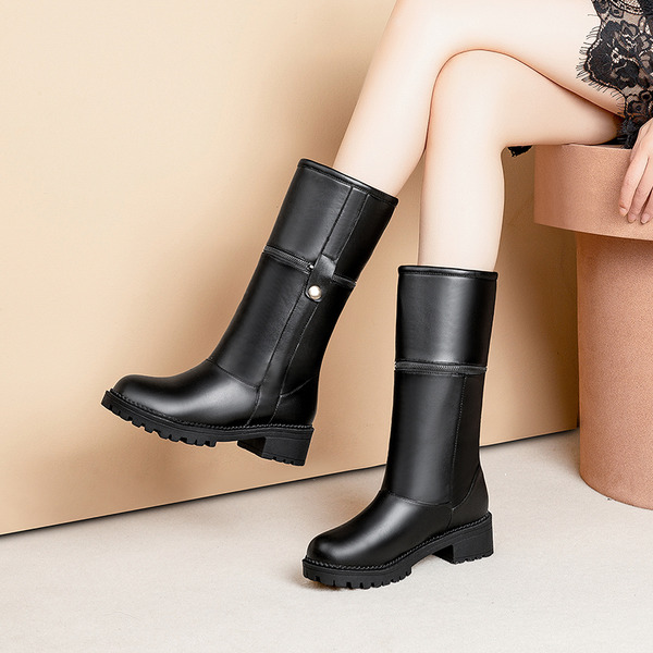 Women's PU Chunky Heel Platform Boots Mid-Calf Boots With Buckle Zipper Split Joint shoes