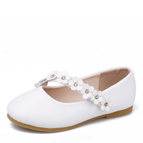 Fille de bout rond Bout fermé Cuir en microfibre talon plat Chaussures plates Chaussures de fille de fleur avec Une fleur