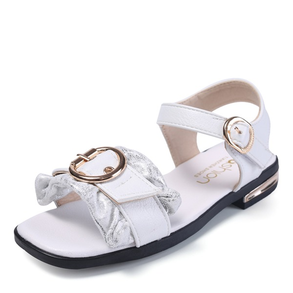 Girl's Peep Toe Leatherette Flat Heel Sandals Flats With Velcro