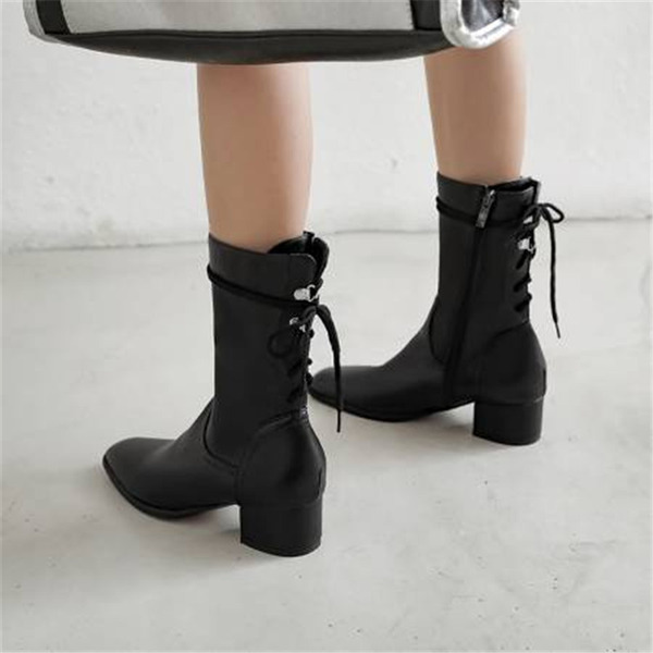 Women's PU Chunky Heel Mid-Calf Boots With Lace-up shoes