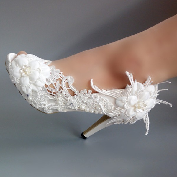 Women's Fabric Stiletto Heel Peep Toe Pumps With Beading Stitching Lace