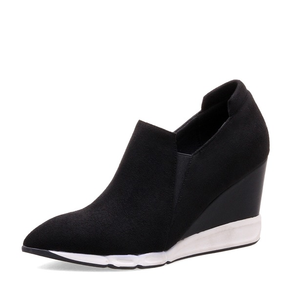 Women's Suede Wedge Heel Closed Toe Wedges shoes