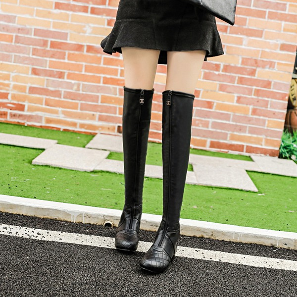 Women's PU Low Heel Flats Knee High Boots With Zipper shoes