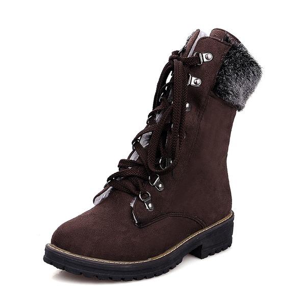 Mulheres Camurça Salto baixo Fechados Botas Botas na panturrilha Botas de neve com Aplicação de renda sapatos