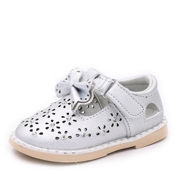 Girl's Round Toe Closed Toe Flat Heel Flats Sneakers & Athletic Flower Girl Shoes With Bowknot Velcro